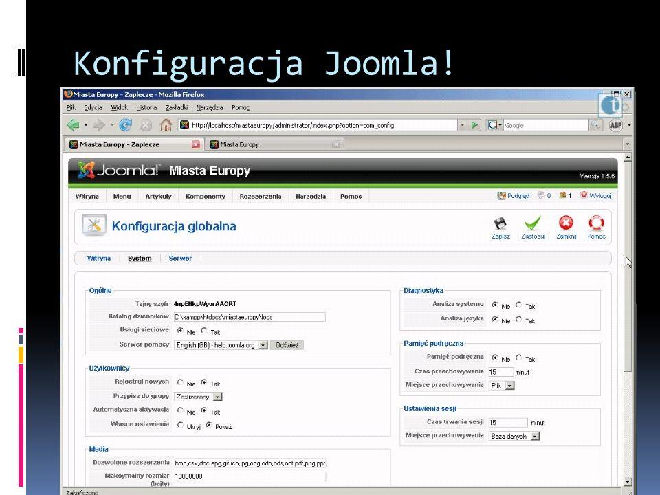 Konfiguracja Joomla!