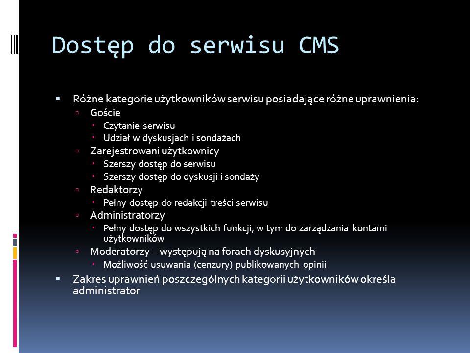 Dostęp do serwisu CMS Różne kategorie użytkowników serwisu posiadające różne uprawnienia: Goście Czytanie serwisu Udział w dyskusjach i sondażach Zare
