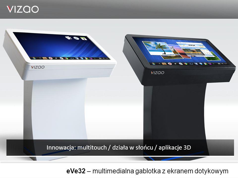 eVe32 – multimedialna gablotka z ekranem dotykowym Innowacja: multitouch / działa w słońcu / aplikacje 3D