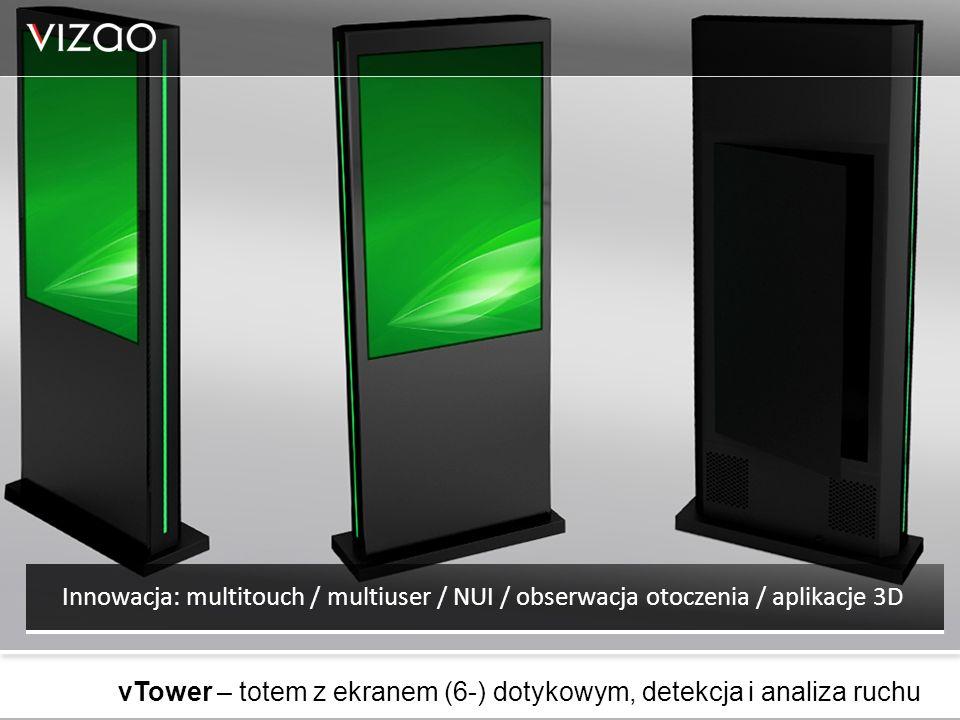 vTower – totem z ekranem (6-) dotykowym, detekcja i analiza ruchu Innowacja: multitouch / multiuser / NUI / obserwacja otoczenia / aplikacje 3D