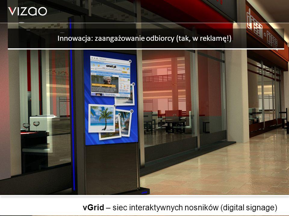 vGrid – siec interaktywnych nosników (digital signage) Innowacja: zaangażowanie odbiorcy (tak, w reklamę!)