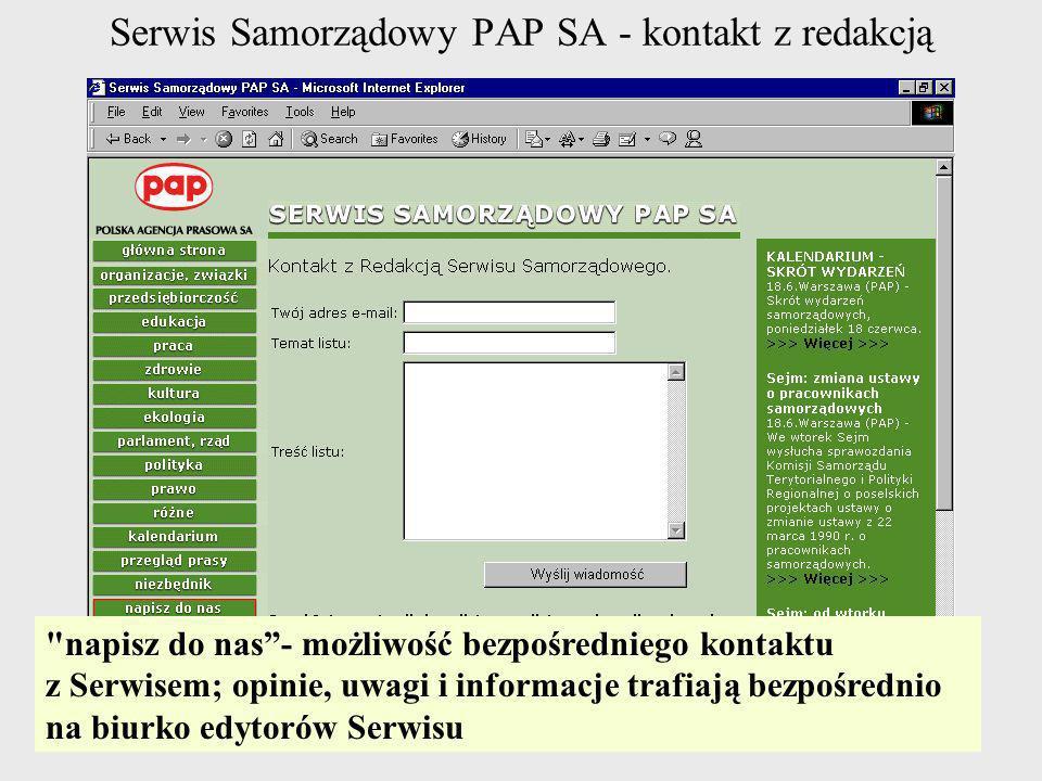 Serwis Samorządowy PAP SA - kontakt z redakcją