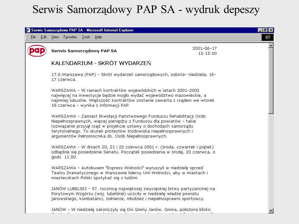 Serwis Samorządowy PAP SA - wydruk depeszy