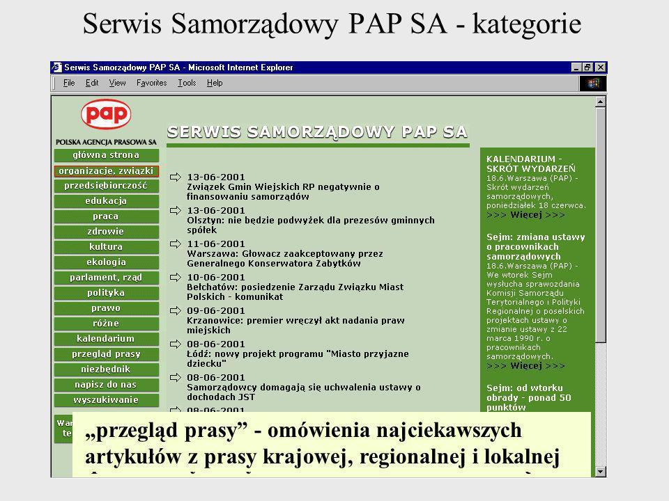 Serwis Samorządowy PAP SA - kategorie Po lewej stronie znajdują się klawisze porządkujące tematycznie depesze umieszczone w Serwisie