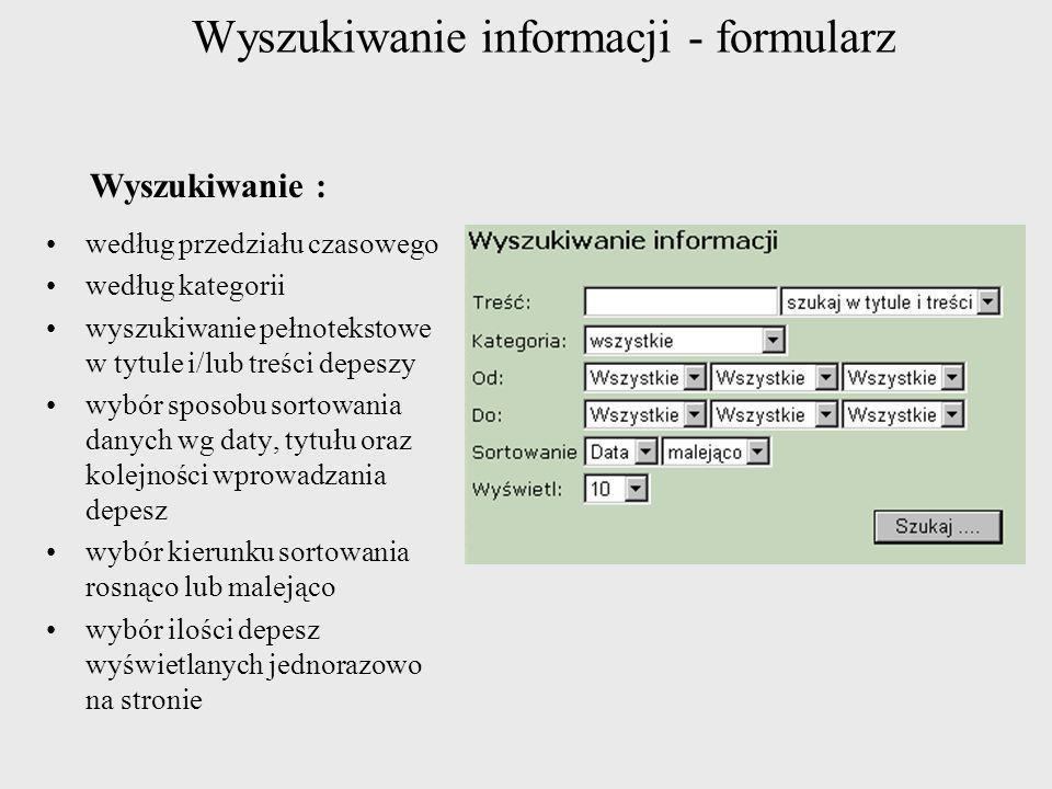 Wyszukiwanie informacji - formularz według przedziału czasowego według kategorii wyszukiwanie pełnotekstowe w tytule i/lub treści depeszy wybór sposob