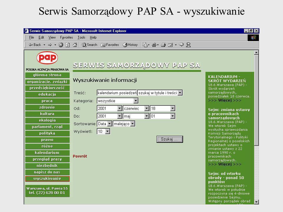 Serwis Samorządowy PAP SA - wyszukiwanie