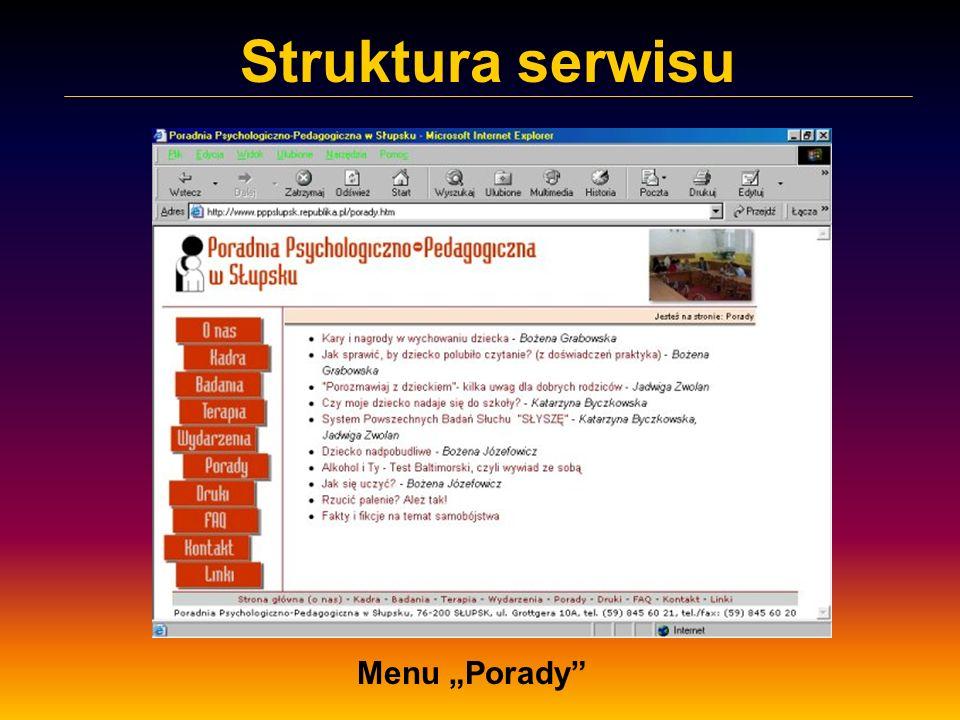 Struktura serwisu Menu Porady - artykuł