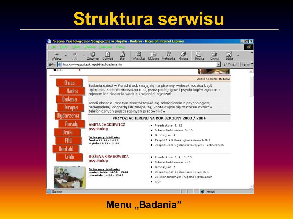 Struktura serwisu Menu Badania