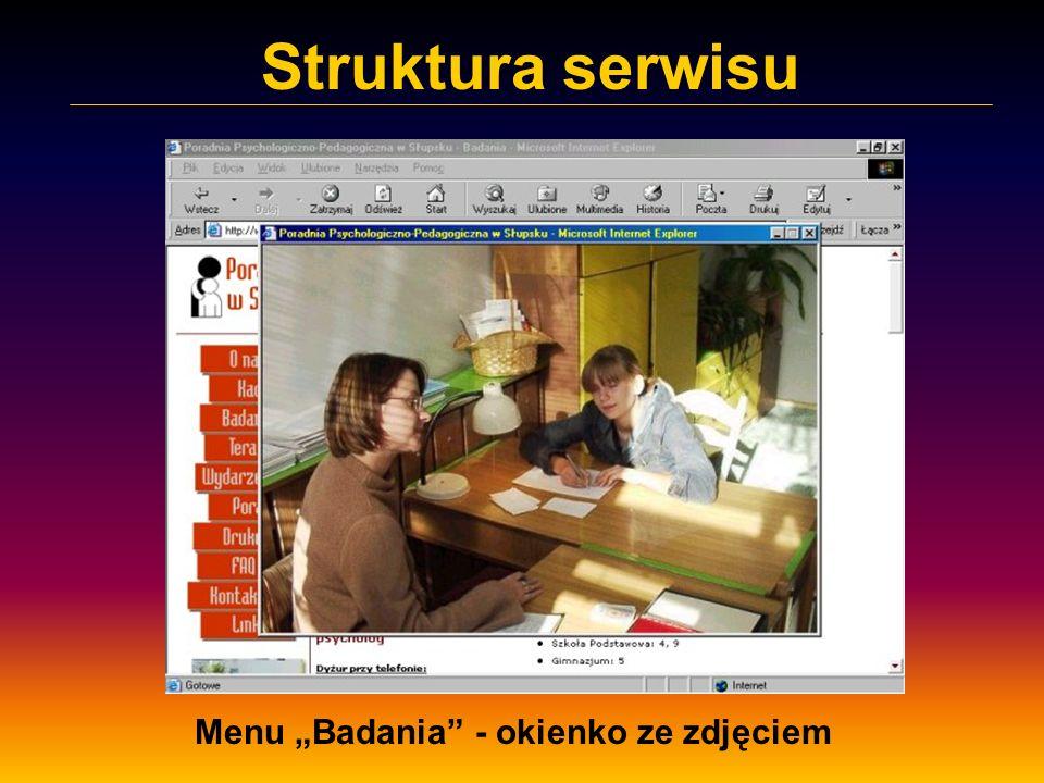 Struktura serwisu Menu Badania - okienko ze zdjęciem