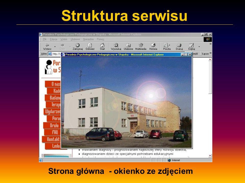 Struktura serwisu Strona główna - okienko ze zdjęciem