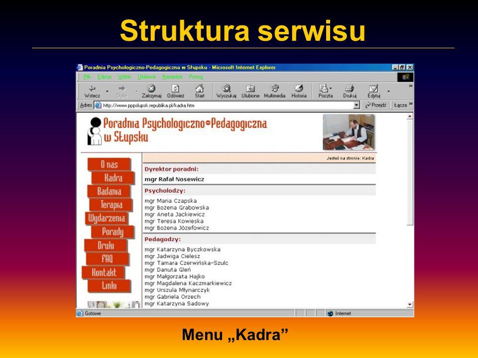 Struktura serwisu Menu Kadra