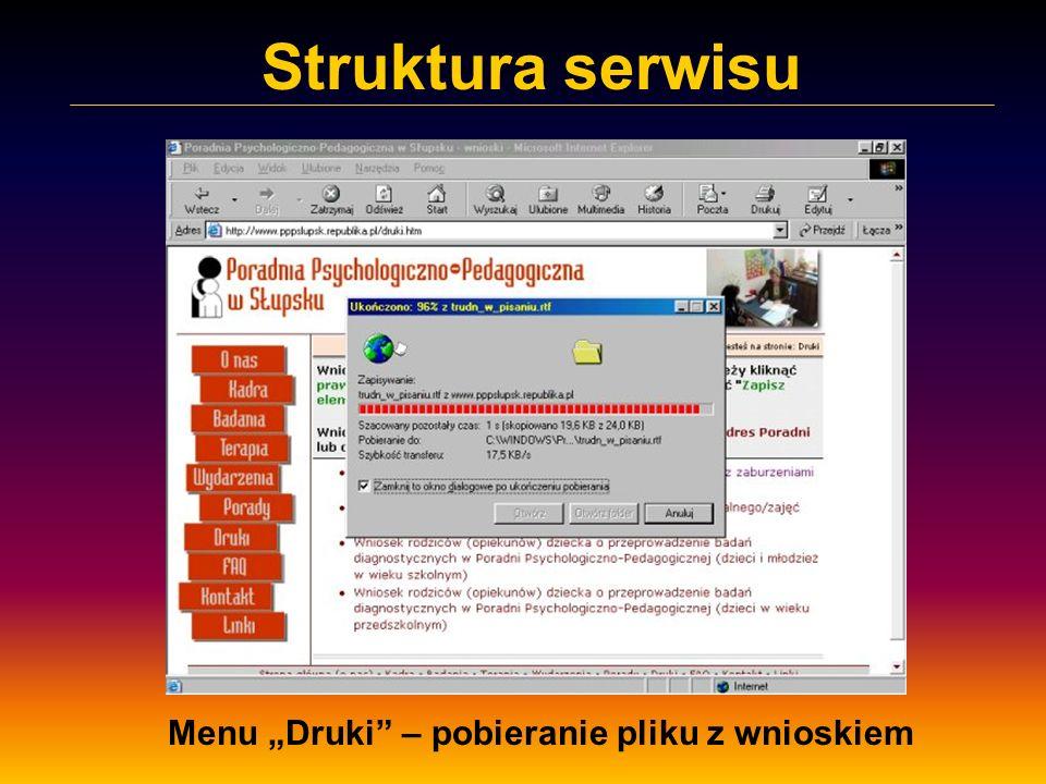 Struktura serwisu Menu Druki – pobieranie pliku z wnioskiem