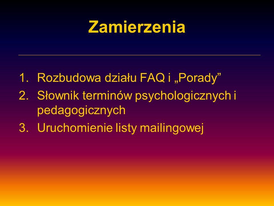 Zamierzenia 1.Rozbudowa działu FAQ i Porady 2.Słownik terminów psychologicznych i pedagogicznych 3.Uruchomienie listy mailingowej