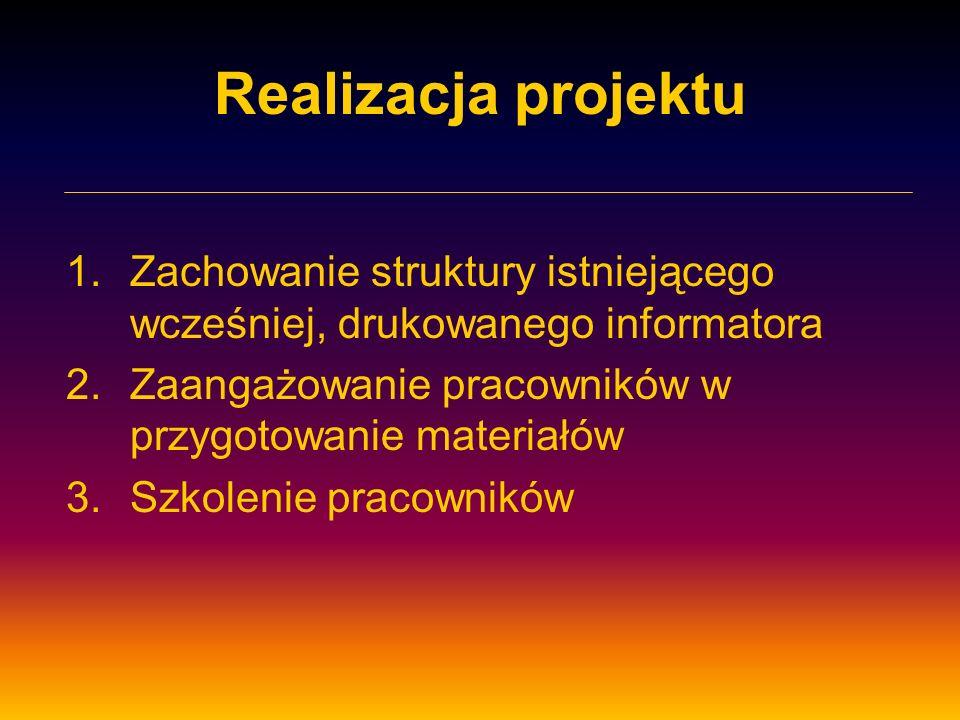 Realizacja projektu 1.Zachowanie struktury istniejącego wcześniej, drukowanego informatora 2.Zaangażowanie pracowników w przygotowanie materiałów 3.Sz
