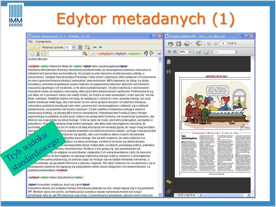 Edytor metadanych (1) Tryb widoku standardowego
