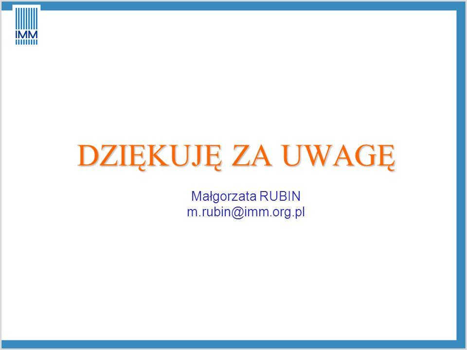 DZIĘKUJĘ ZA UWAGĘ Małgorzata RUBIN m.rubin@imm.org.pl