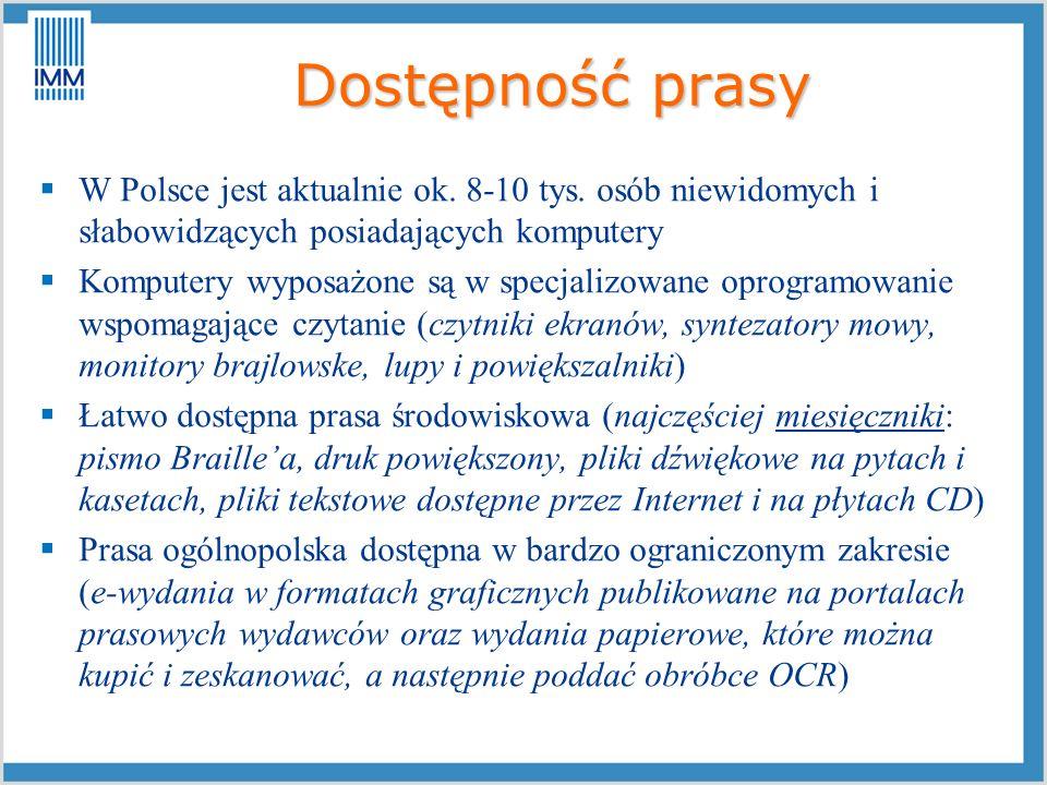 Dostępność prasy W Polsce jest aktualnie ok. 8-10 tys. osób niewidomych i słabowidzących posiadających komputery Komputery wyposażone są w specjalizow