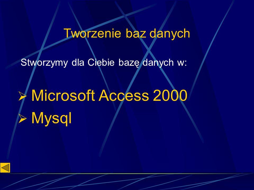 Tworzenie baz danych Microsoft Access 2000 Mysql Stworzymy dla Ciebie bazę danych w: