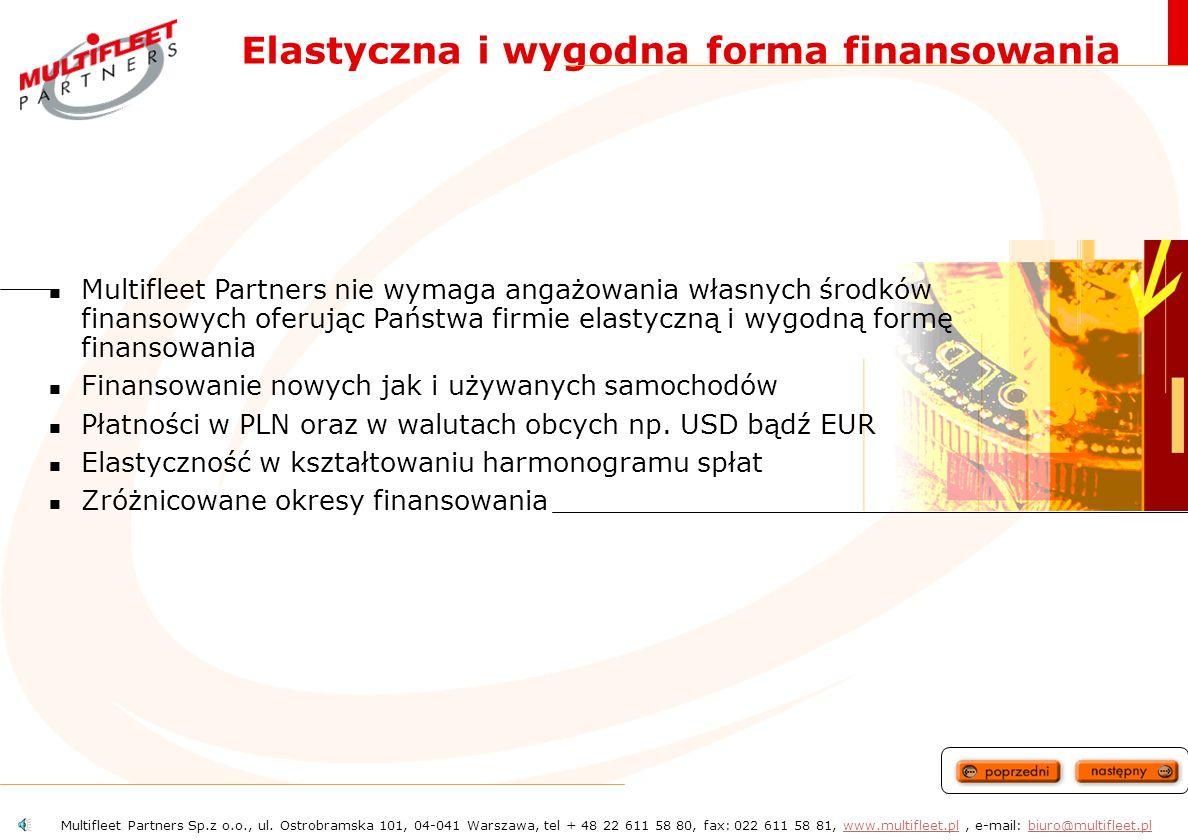 - oferowane usługi Finansowanie oraz zarządzanie flotami samochodów Elastyczna i wygodna forma finansowania Stałe miesięczne opłaty zależne do długości umowy, preferencje podatkowe, etc.