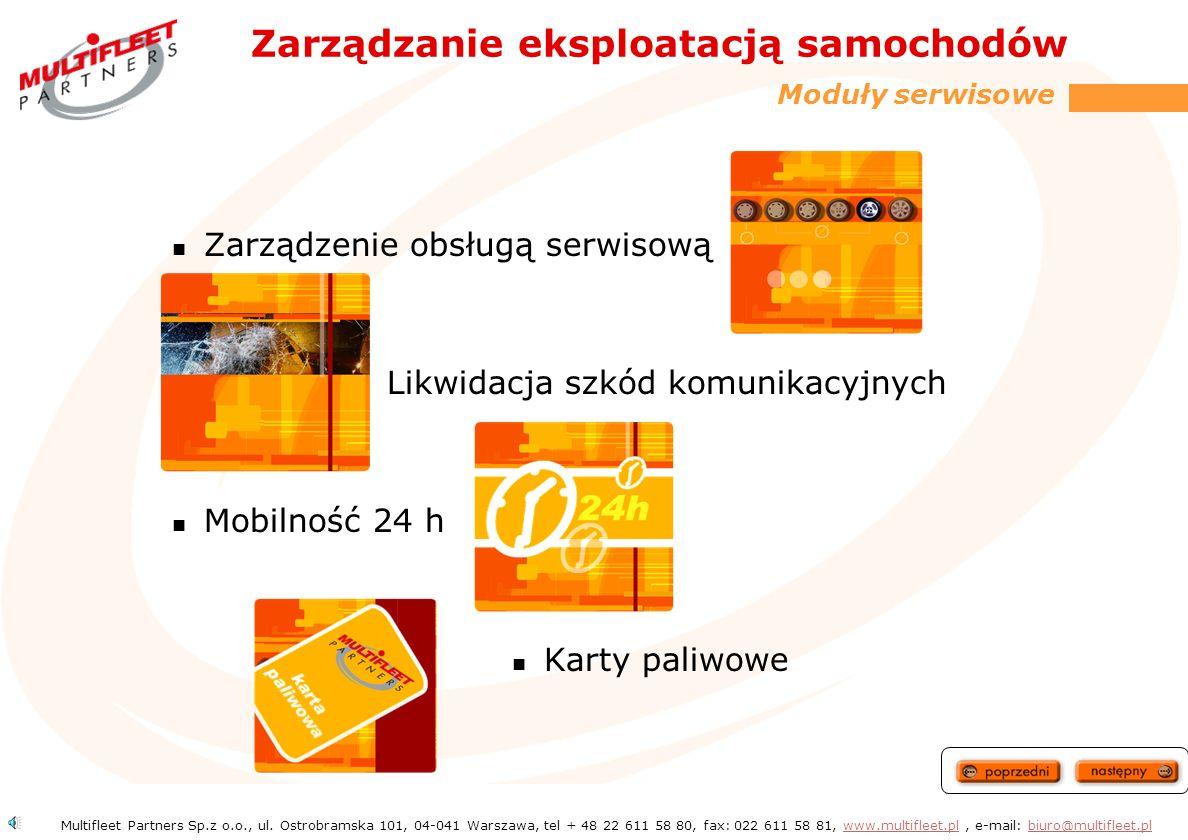 Zarządzanie ubezpieczeniami W zależności od wielkości floty samochodów i dotychczasowej szkodowości oferujemy najkorzystniejszą formę ubezpieczenia Płatność jednorazowa lub w ratach miesięcznych Umowy ubezpieczeniowe zawieramy jedynie z wiarygodnymi i największymi ubezpieczycielami w Polsce Szybkie procedury związane z likwidacją szkód Multifleet Partners Sp.z o.o., ul.