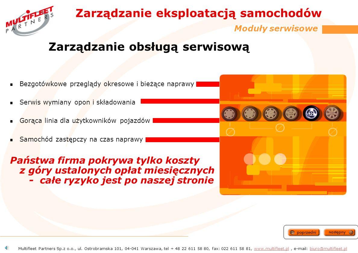 Zarządzanie eksploatacją samochodów Moduły serwisowe Zarządzenie obsługą serwisową Likwidacja szkód komunikacyjnych Mobilność 24 h Karty paliwowe Multifleet Partners Sp.z o.o., ul.