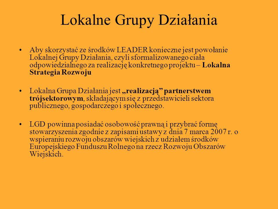 Lokalne Grupy Działania Aby skorzystać ze środków LEADER konieczne jest powołanie Lokalnej Grupy Działania, czyli sformalizowanego ciała odpowiedzialn