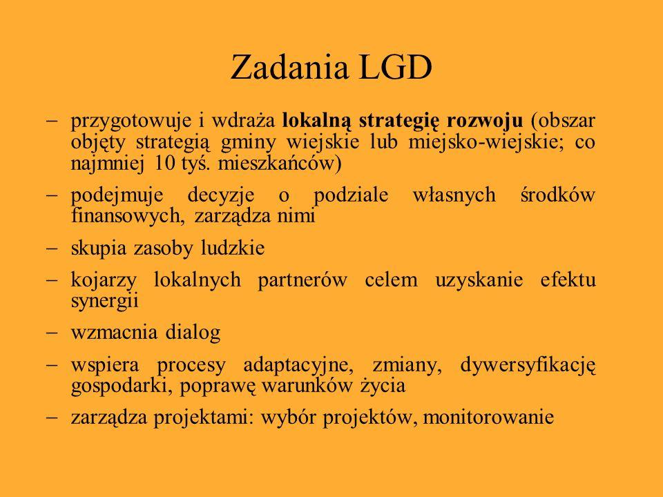 Zadania LGD przygotowuje i wdraża lokalną strategię rozwoju (obszar objęty strategią gminy wiejskie lub miejsko-wiejskie; co najmniej 10 tyś.