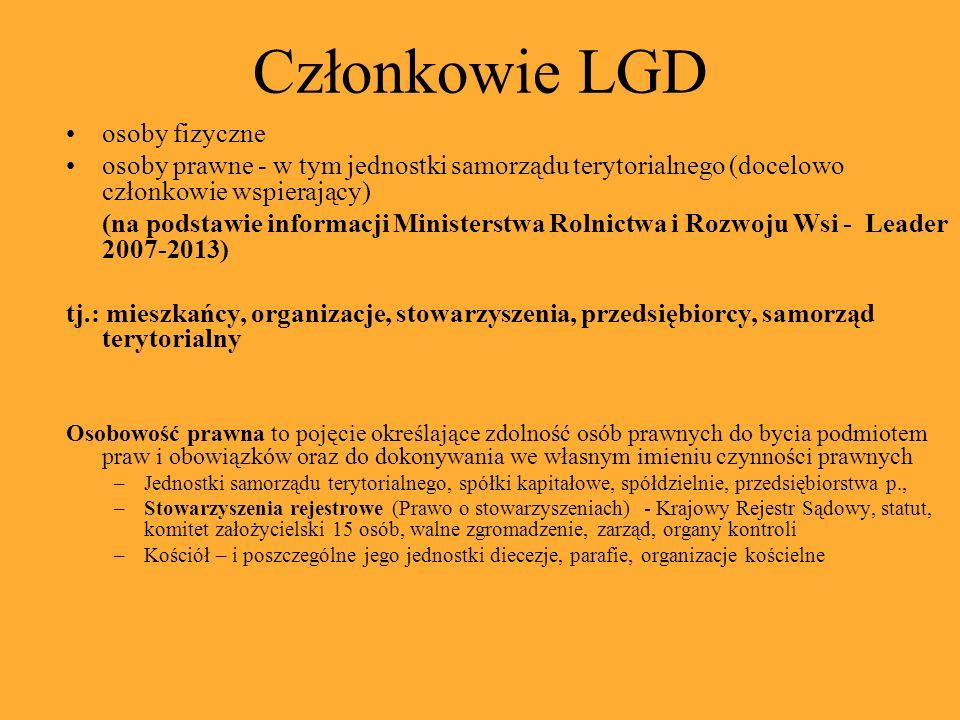 Członkowie LGD osoby fizyczne osoby prawne - w tym jednostki samorządu terytorialnego (docelowo członkowie wspierający) (na podstawie informacji Ministerstwa Rolnictwa i Rozwoju Wsi - Leader 2007-2013) tj.: mieszkańcy, organizacje, stowarzyszenia, przedsiębiorcy, samorząd terytorialny Osobowość prawna to pojęcie określające zdolność osób prawnych do bycia podmiotem praw i obowiązków oraz do dokonywania we własnym imieniu czynności prawnych –Jednostki samorządu terytorialnego, spółki kapitałowe, spółdzielnie, przedsiębiorstwa p., –Stowarzyszenia rejestrowe (Prawo o stowarzyszeniach) - Krajowy Rejestr Sądowy, statut, komitet założycielski 15 osób, walne zgromadzenie, zarząd, organy kontroli –Kościół – i poszczególne jego jednostki diecezje, parafie, organizacje kościelne