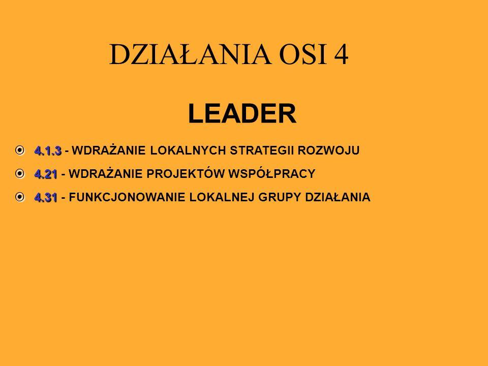 LEADER 4.1.3 4.1.3 - WDRAŻANIE LOKALNYCH STRATEGII ROZWOJU 4.21 4.21 - WDRAŻANIE PROJEKTÓW WSPÓŁPRACY 4.31 4.31 - FUNKCJONOWANIE LOKALNEJ GRUPY DZIAŁA