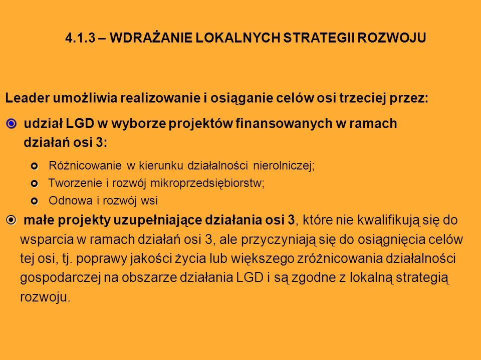 Leader umożliwia realizowanie i osiąganie celów osi trzeciej przez: udział LGD w wyborze projektów finansowanych w ramach działań osi 3: Różnicowanie w kierunku działalności nierolniczej; Tworzenie i rozwój mikroprzedsiębiorstw; Odnowa i rozwój wsi małe projekty uzupełniające działania osi 3, które nie kwalifikują się do wsparcia w ramach działań osi 3, ale przyczyniają się do osiągnięcia celów tej osi, tj.
