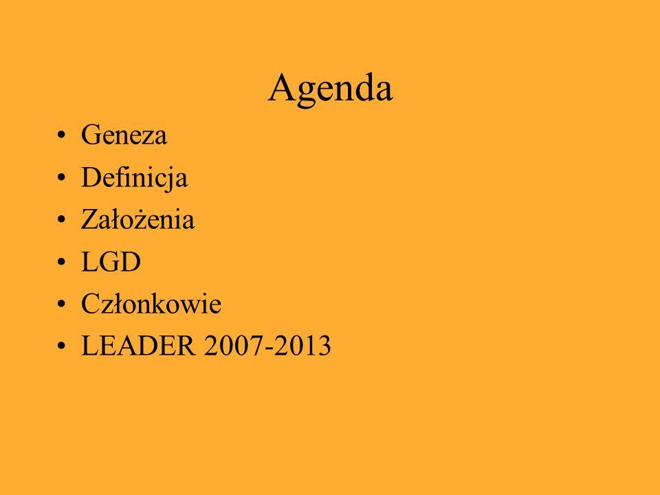 Agenda Geneza Definicja Założenia LGD Członkowie LEADER 2007-2013
