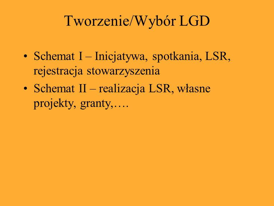 Tworzenie/Wybór LGD Schemat I – Inicjatywa, spotkania, LSR, rejestracja stowarzyszenia Schemat II – realizacja LSR, własne projekty, granty,….