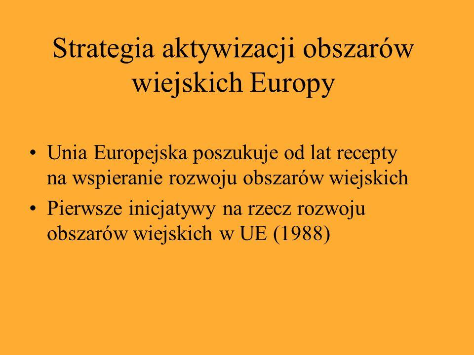 Unia Europejska poszukuje od lat recepty na wspieranie rozwoju obszarów wiejskich Pierwsze inicjatywy na rzecz rozwoju obszarów wiejskich w UE (1988) Strategia aktywizacji obszarów wiejskich Europy