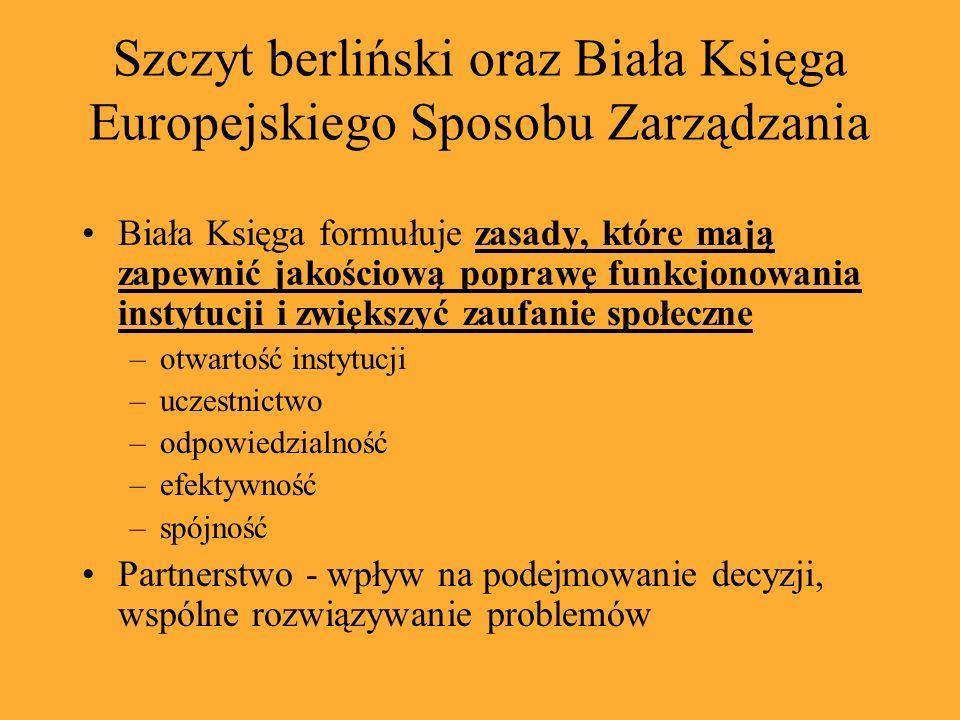 Szczyt berliński oraz Biała Księga Europejskiego Sposobu Zarządzania Biała Księga formułuje zasady, które mają zapewnić jakościową poprawę funkcjonowa