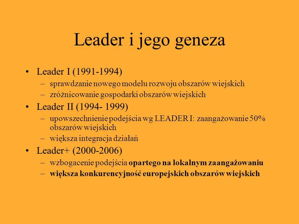 Leader i jego geneza Leader I (1991-1994) –sprawdzanie nowego modelu rozwoju obszarów wiejskich –zróżnicowanie gospodarki obszarów wiejskich Leader II (1994- 1999) –upowszechnienie podejścia wg LEADER I: zaangażowanie 50% obszarów wiejskich –większa integracja działań Leader+ (2000-2006) –wzbogacenie podejścia opartego na lokalnym zaangażowaniu –większa konkurencyjność europejskich obszarów wiejskich