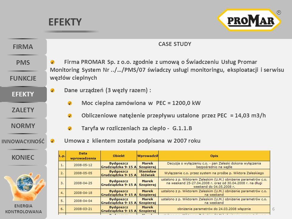 7 EFEKTY FIRMA PMS FUNKCJE KONIEC INNOWACYJNOŚĆ NORMY ZALETY EFEKTY Data uruchomienia Promar Monitoring System – 09.2007 r.