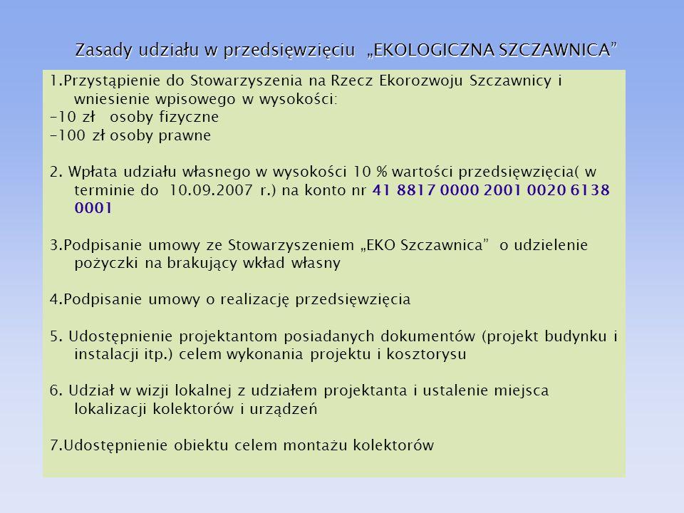 Zasady udziału w przedsięwzięciu EKOLOGICZNA SZCZAWNICA 1.Przystąpienie do Stowarzyszenia na Rzecz Ekorozwoju Szczawnicy i wniesienie wpisowego w wyso