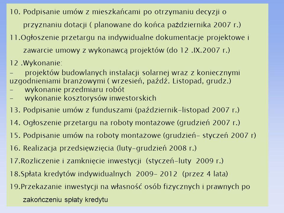 HARMONOGRAM PRAC 10. Podpisanie umów z mieszkańcami po otrzymaniu decyzji o przyznaniu dotacji ( planowane do końca pa ź dziernika 2007 r.) 11.Ogłosze