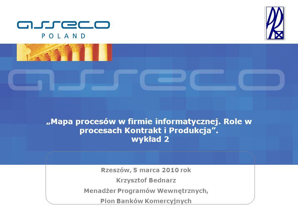 Mapa procesów w firmie informatycznej. Role w procesach Kontrakt i Produkcja. wykład 2 Rzeszów, 5 marca 2010 rok Krzysztof Bednarz Menadżer Programów