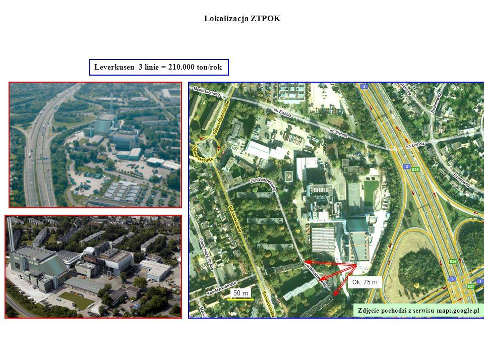 Leverkusen 3 linie = 210.000 ton/rok 50 m Ok. 75 m Zdjęcie pochodzi z serwisu maps.google.pl Lokalizacja ZTPOK