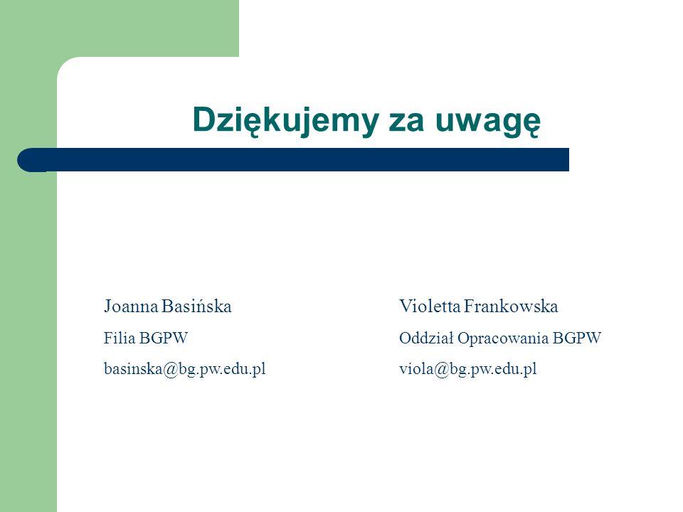 Dziękujemy za uwagę Violetta Frankowska Oddział Opracowania BGPW viola@bg.pw.edu.pl Joanna Basińska Filia BGPW basinska@bg.pw.edu.pl