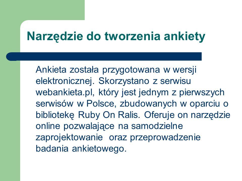 Narzędzie do tworzenia ankiety Ankieta została przygotowana w wersji elektronicznej. Skorzystano z serwisu webankieta.pl, który jest jednym z pierwszy
