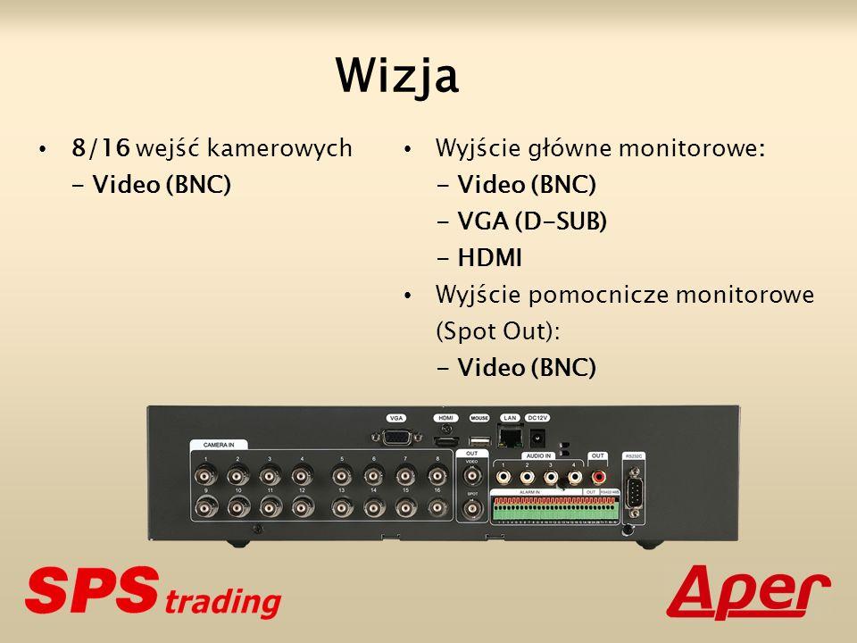 Wizja 8/16 wejść kamerowych - Video (BNC) Wyjście główne monitorowe: - Video (BNC) - VGA (D-SUB) - HDMI Wyjście pomocnicze monitorowe (Spot Out): - Video (BNC)
