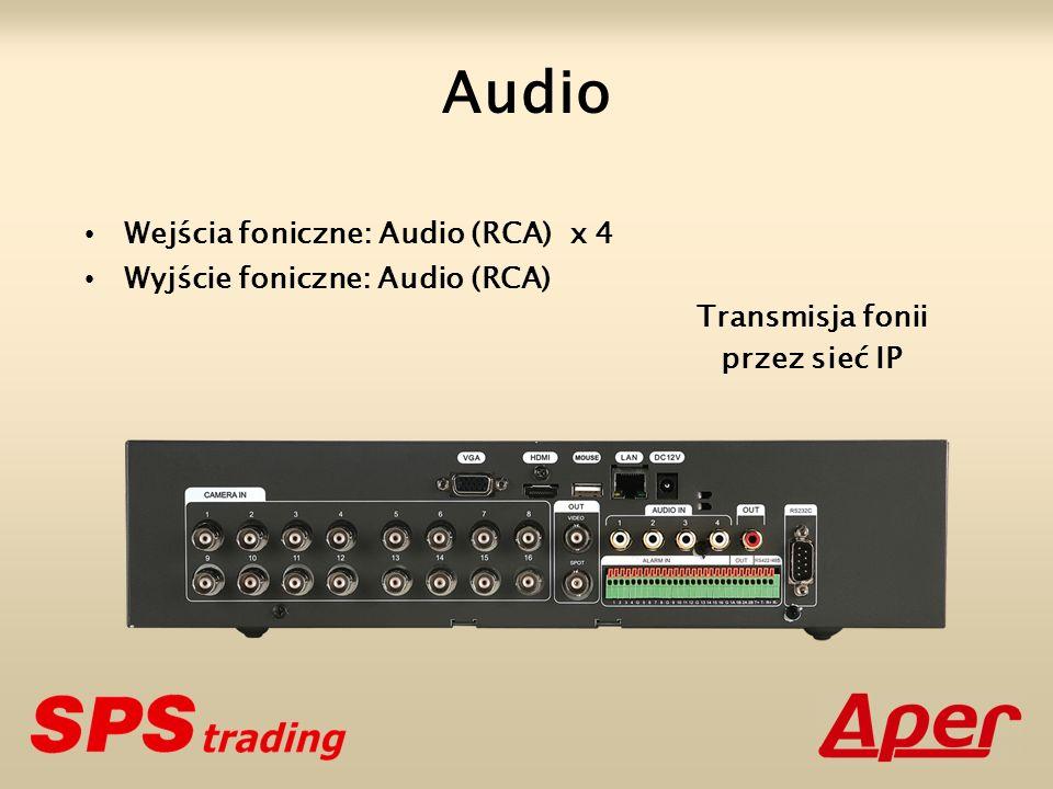 Wejścia foniczne: Audio (RCA) x 4 Wyjście foniczne: Audio (RCA) Audio Transmisja fonii przez sieć IP