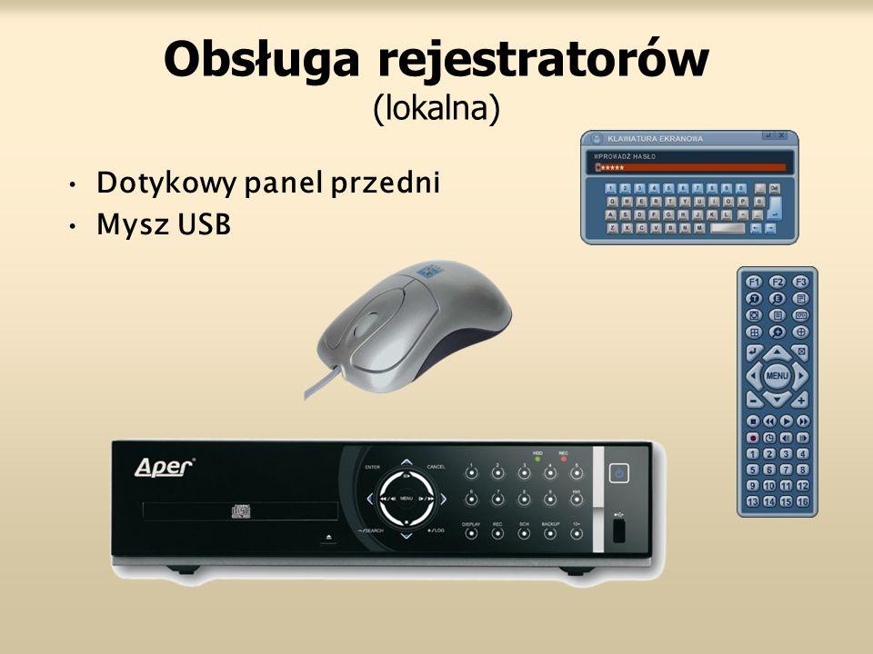 Obsługa rejestratorów (lokalna) Dotykowy panel przedni Mysz USB