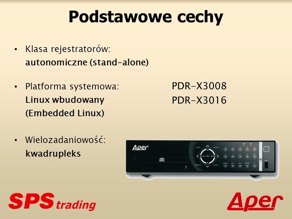 Podstawowe cechy Klasa rejestratorów: autonomiczne (stand-alone) Platforma systemowa: Linux wbudowany (Embedded Linux) Wielozadaniowość: kwadrupleks PDR-X3008 PDR-X3016