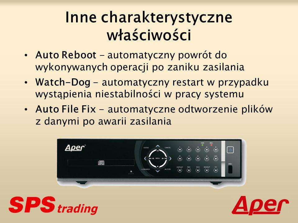 Inne charakterystyczne właściwości Auto Reboot - automatyczny powrót do wykonywanych operacji po zaniku zasilania Watch-Dog - automatyczny restart w przypadku wystąpienia niestabilności w pracy systemu Auto File Fix - automatyczne odtworzenie plików z danymi po awarii zasilania