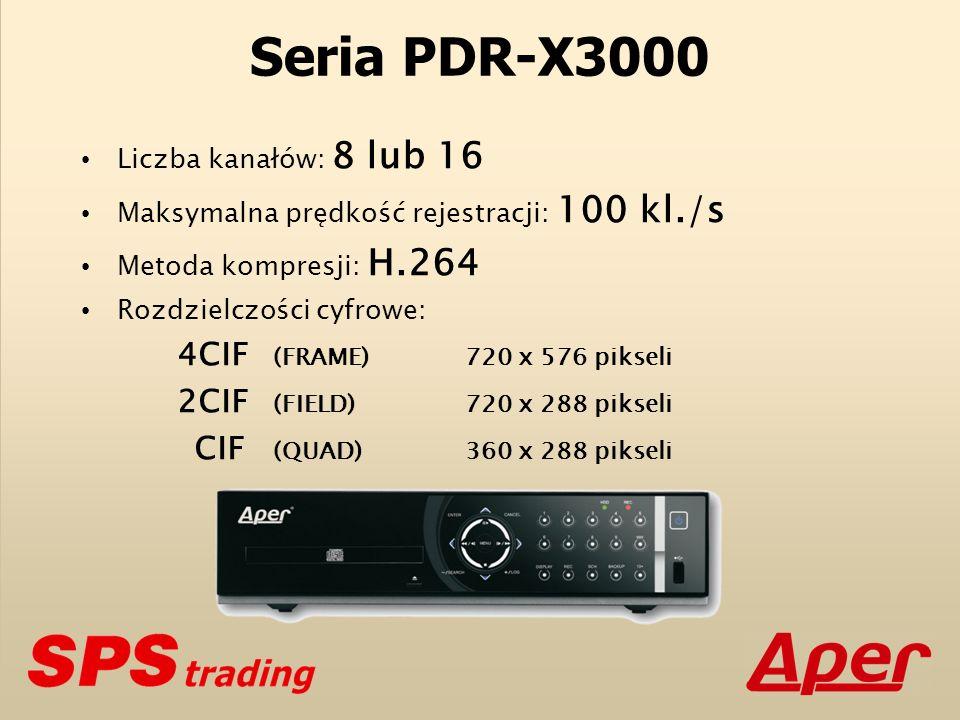 Seria PDR-X3000 Liczba kanałów: 8 lub 16 Maksymalna prędkość rejestracji: 100 kl./s Metoda kompresji: H.264 Rozdzielczości cyfrowe: 4CIF (FRAME)720 x 576 pikseli 2CIF (FIELD)720 x 288 pikseli CIF (QUAD)360 x 288 pikseli