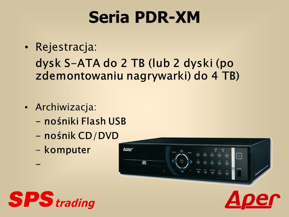 Seria PDR-XM Rejestracja: dysk S-ATA do 2 TB (lub 2 dyski (po zdemontowaniu nagrywarki) do 4 TB) Archiwizacja: - nośniki Flash USB - nośnik CD/DVD - komputer -