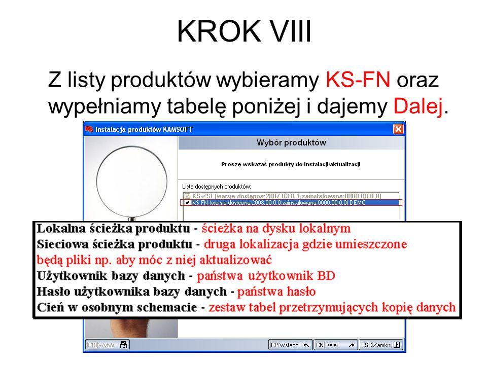 KROK VIII Z listy produktów wybieramy KS-FN oraz wypełniamy tabelę poniżej i dajemy Dalej.